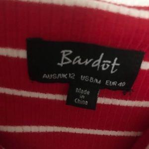 Bardot Dresses - Red Striped Ribbed Bardot Tie Strap Dress, Size M